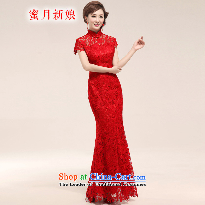 Honeymoon bride Wedding 2015 Red elegant embroidery lace brides snow lint-free drink long red qipao?L