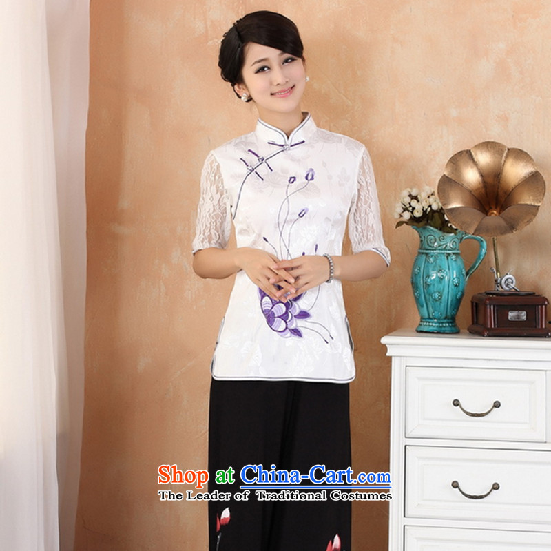 The 2014 summer flowers Figure of Chinese qipao new women's improved Tang Dynasty Mock-Neck Shirt embroidery in italics badges of cuff 2339 White?XL