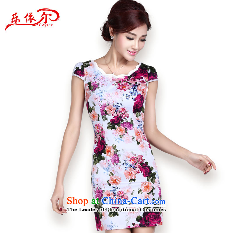 In accordance with the American's summer short-sleeved qipao female cheongsam dress short, Retro classic and elegant qipao stamp daily female blue L