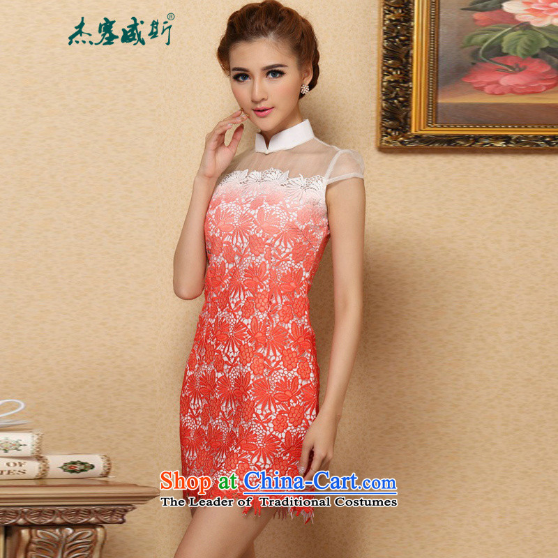 In the new kit stylish classic improved water-soluble gradient lace cheongsam dress collar?XL