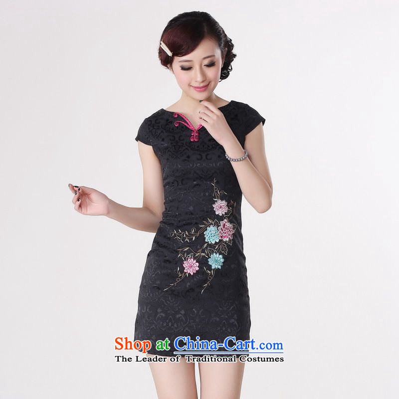 158 Jing qipao summer improved retro dresses V-Neck Pure Cotton Chinese cheongsam dress embroidered short of improved?0214 -A black?L paras. 110-115) the burden of recommendations