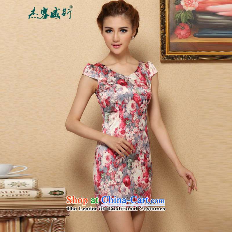 In the new kit stylish improved stamp lace pannelled stylish qipao lace cheongsam dress V-NECK M