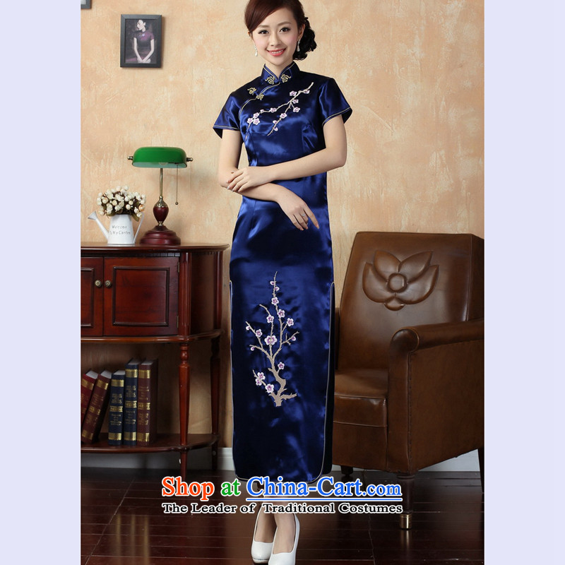 The 2014 summer flowers figure for women of the new Chinese qipao improved version of a collar badges of silk embroidery retro long qipao J3407 J3407 on cyan?L