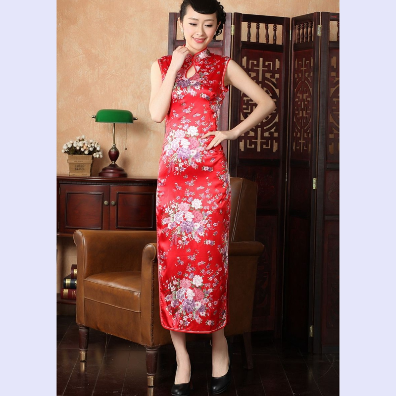 The 2014 summer flowers figure for women of the new Chinese improved collar cotton hand-painted retro stamp long qipao J5111 146 Red�L