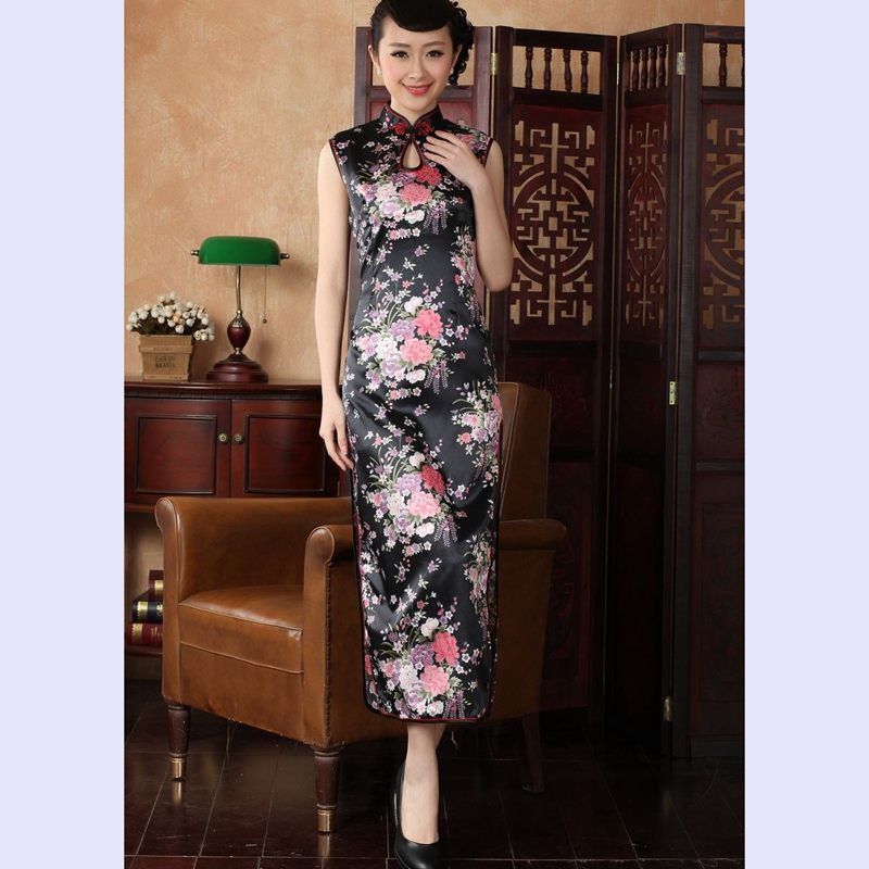 The 2014 summer flowers figure for women of the new Chinese qipao improved collar cotton hand-painted Tang dynasty retro long qipao J5113 146 Black聽2XL