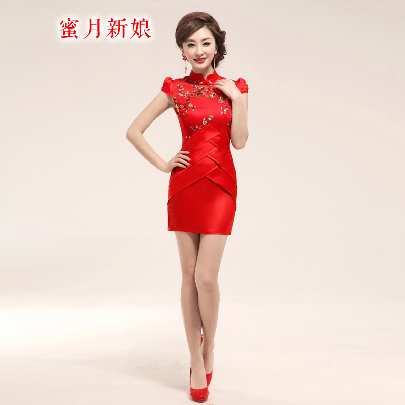 Honeymoon bride 2015 package shoulder bride embroidered short of Qipao bows services package and small red Sau San dress RED M