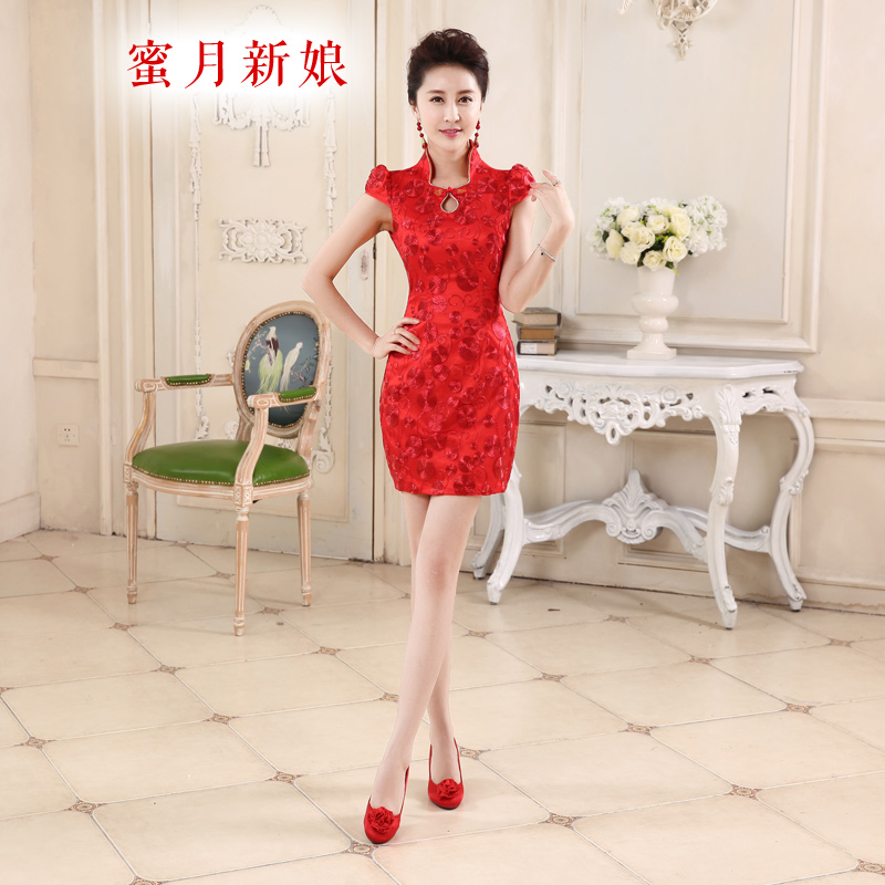 Honeymoon bride?spring and summer 2015, improvement of bows qipao short Lace Embroidery qipao Sau San bows services red?XL