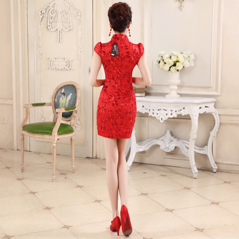 Honeymoon bride聽spring and summer 2015, improvement of bows qipao short Lace Embroidery qipao Sau San bows services red聽XL, bride honeymoon shopping on the Internet has been pressed.
