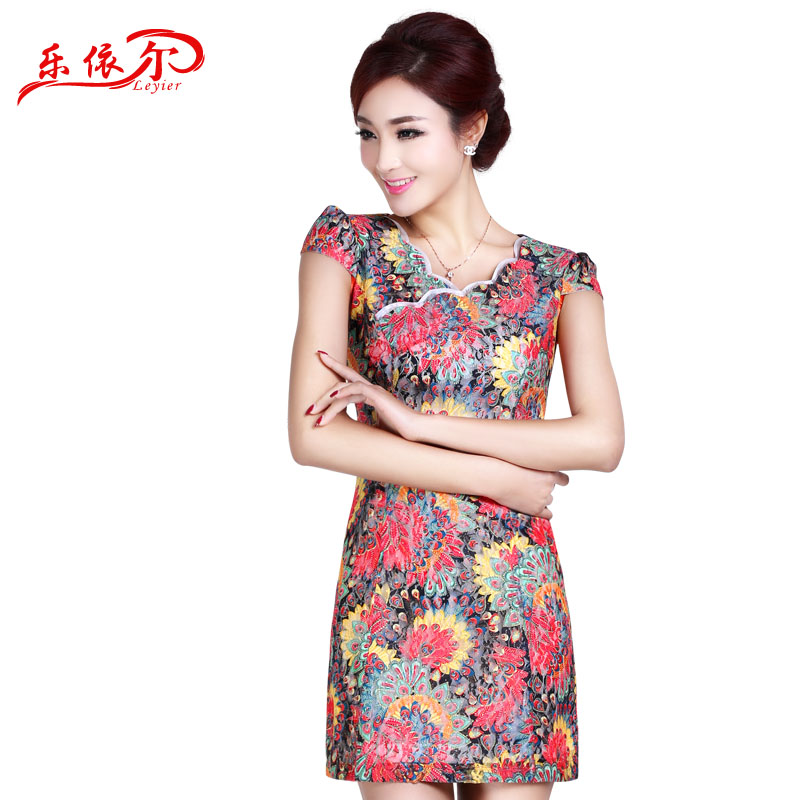 In accordance with the American's 2015 short-sleeved summer short of qipao cheongsam dress girls and women daily qipao classical beige?XL