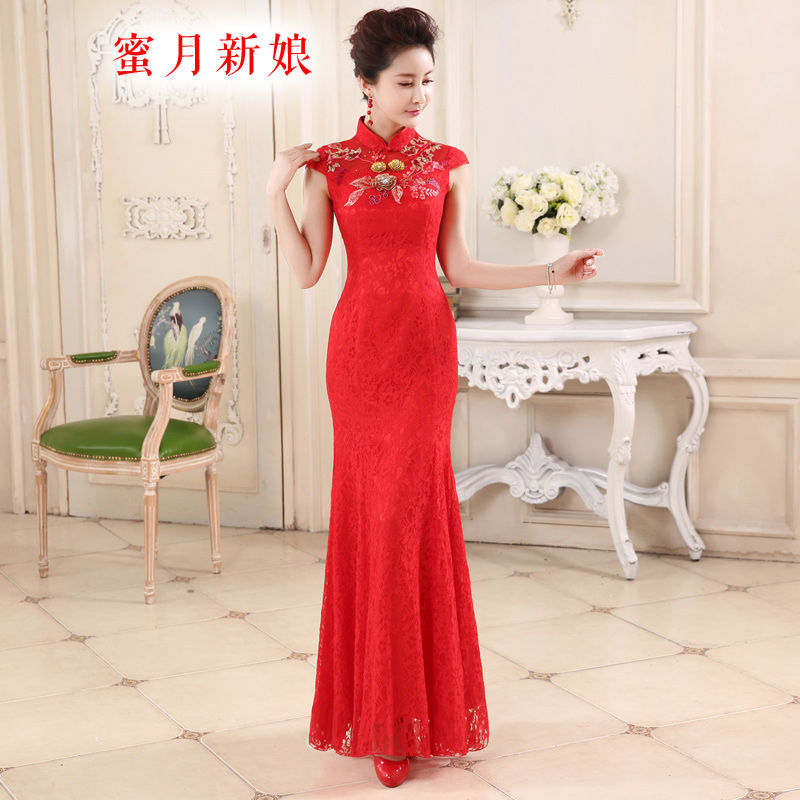 Honeymoon bride 2015 Summer stylish red bride bows lace Sau San qipao cheongsam elegant classical temperament red?S