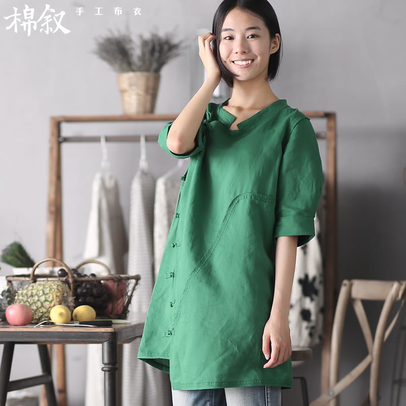 The Syrian cotton 1036 page of the Shanghai Chinese Antique improved disk detained qipao summer fashion, cuff cheongsam dress dark green燤