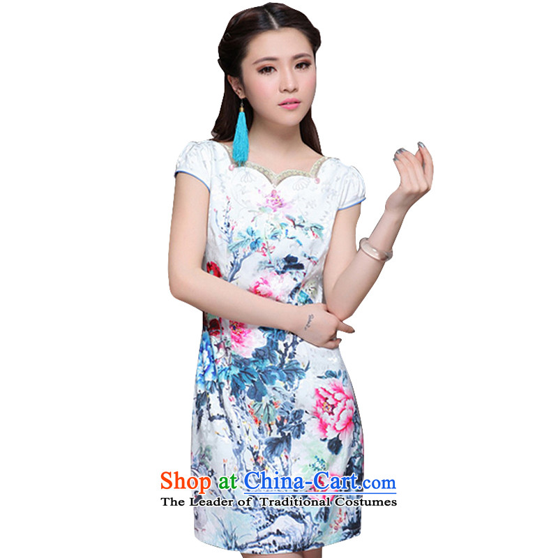 In 2014 the new line cloud China wind of ethnic women improved stylish commuter Sau San video thin cheongsam ZM9904 map color?XXL