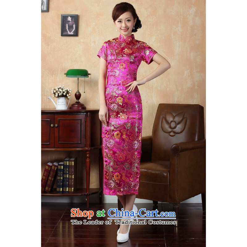 Figure for summer flowers new women's Chinese qipao gown ramp improved collar silk poster Tang dynasty retro ten tablets?of Qipao J0025 deduction long red?M