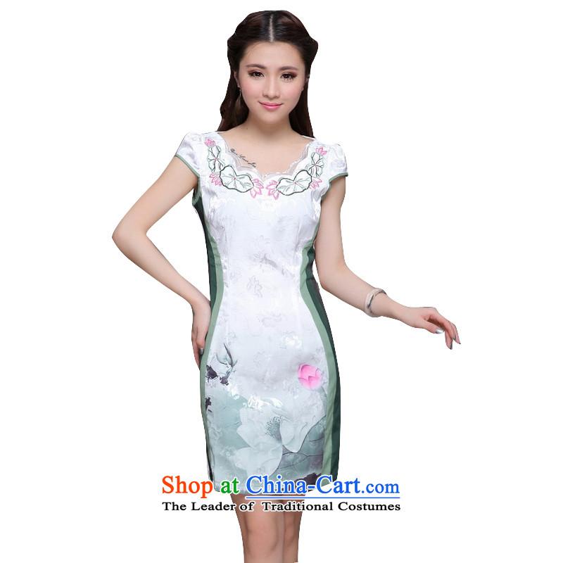 In line high-end ethnic cloud women's stylish Chinese cheongsam dress retro Sau San video thin cheongsam dress ZM9910 GREENXXL