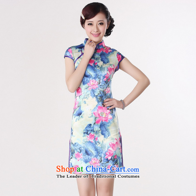 It 2014 NEW STYLISH CHINESE CHEONGSAM Tang dynasty improved Lotus is pressed to collar damask short-sleeved qipao D0200-b D0200 2XL