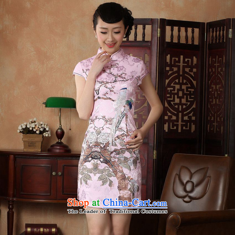 Figure for summer flowers new women's Chinese qipao gown ramp improved collar bird and flower basket hand-painted elegant qipao retro pink?S