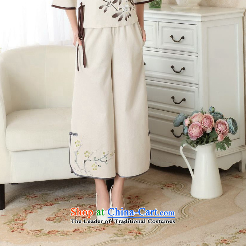 Take the new summer figure Tang dynasty ladies pants, roving entertainment Han-wide-legged pants ethnic cotton linen ladies pants m Yellow聽M