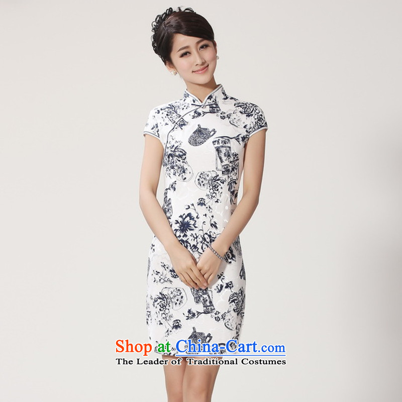Take a new stylish for women improved summer Tang Dynasty Chinese collar is traversed by the flax porcelain short-sleeved qipao porcelain L