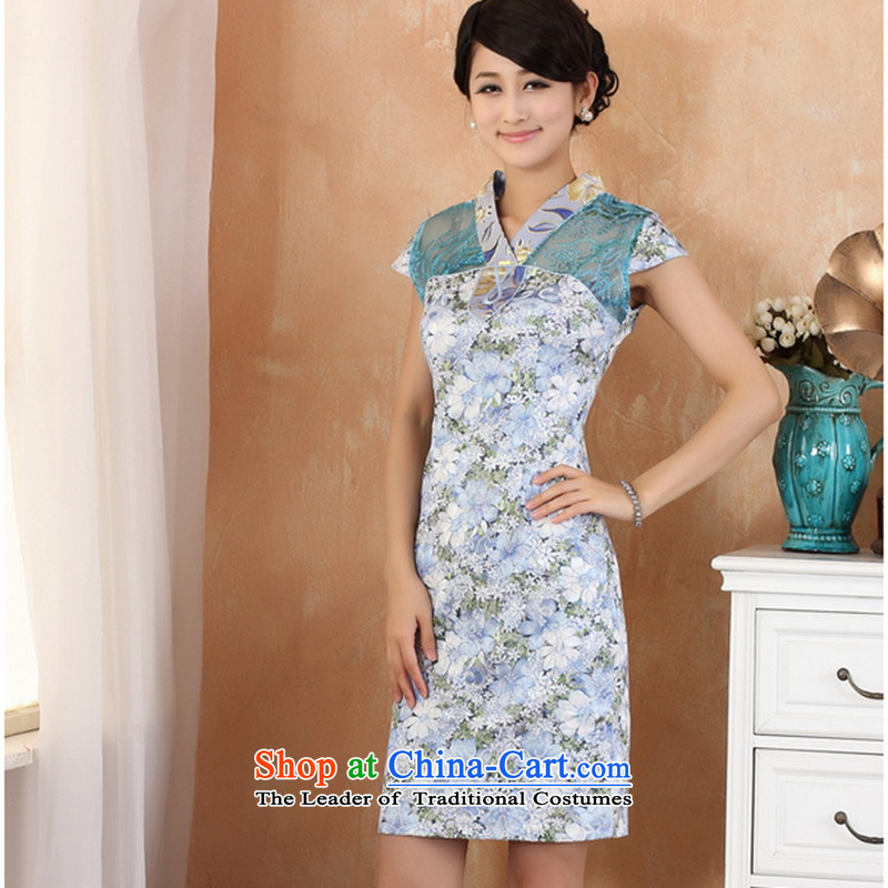Take a new stylish summer short-sleeved blouses and Tang dynasty qipao gown round collar V improvement in Chinese jacquard blue qipao燬