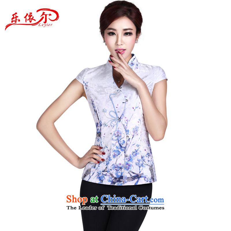 In accordance with the American's Summer 2014 Ms. Tang dynasty new ethnic retro elegant personality improved short-sleeved blouses LYE1366 Tang white shirt + pants XL