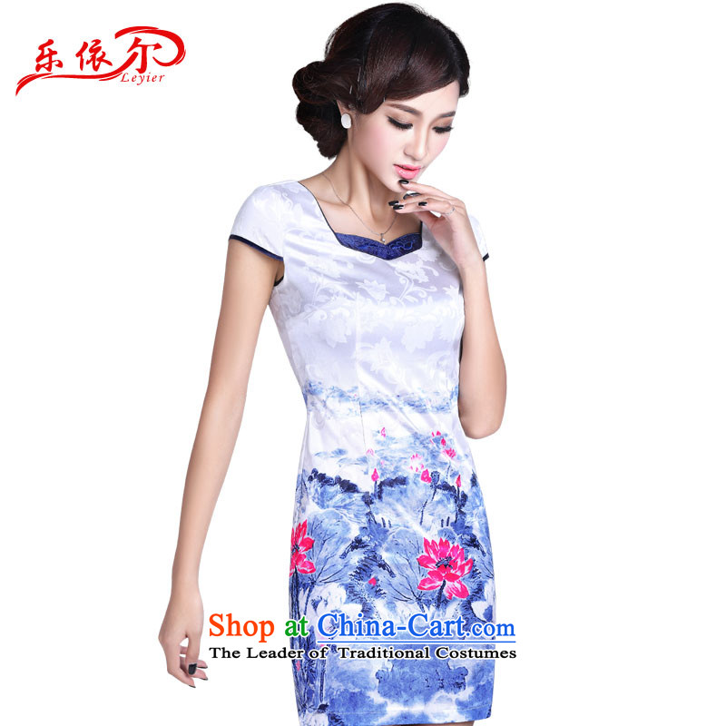 In accordance with the American's summer, New hand-painted cheongsam dress elegant qipao and sexy improved retro graphics, Sau San thin short qipao LYE1367 White燲L