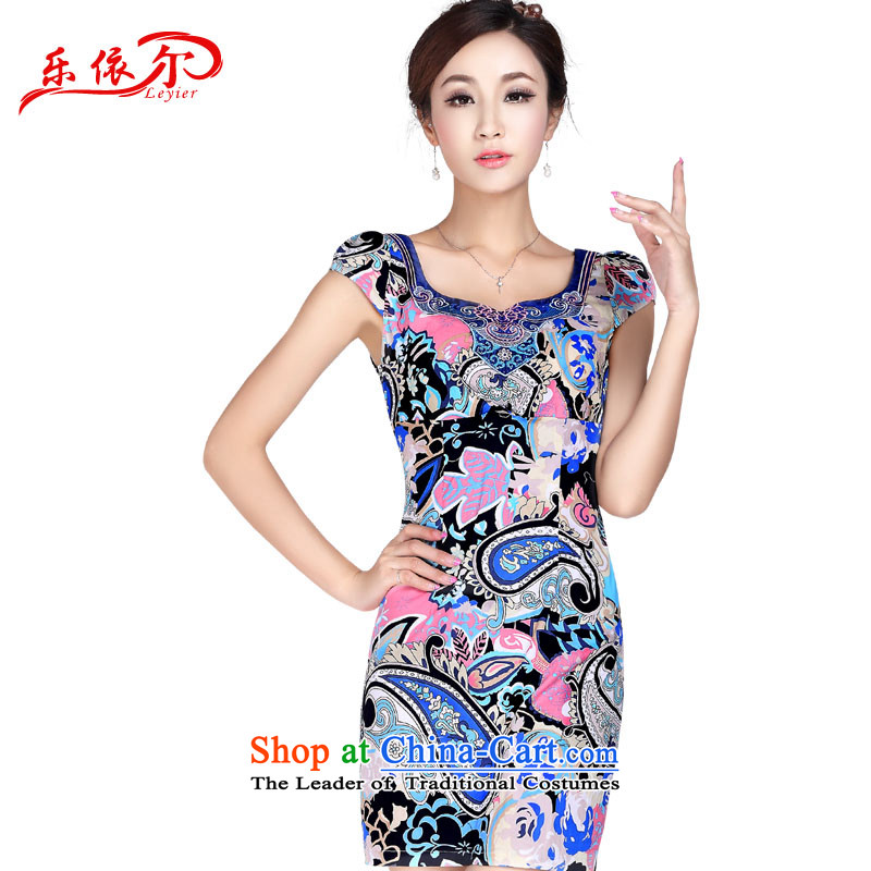 In accordance with the American's summer, Sleek and Sexy cheongsam dress improved qipao Sau San video thin retro saika elegant qipao LYE1369 short, suit?XL