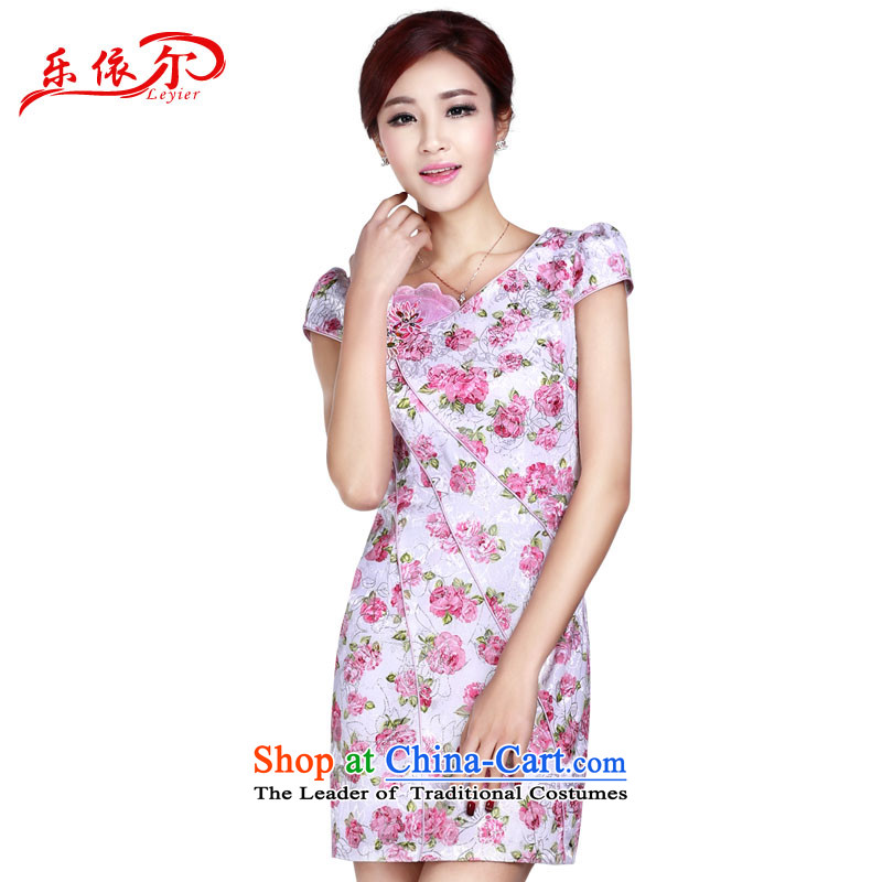 In accordance with the American Women's Summer's new cheongsam dress elegant classical gentlewoman qipao retro stamp short-sleeved qipao�LYE1371�pink�S