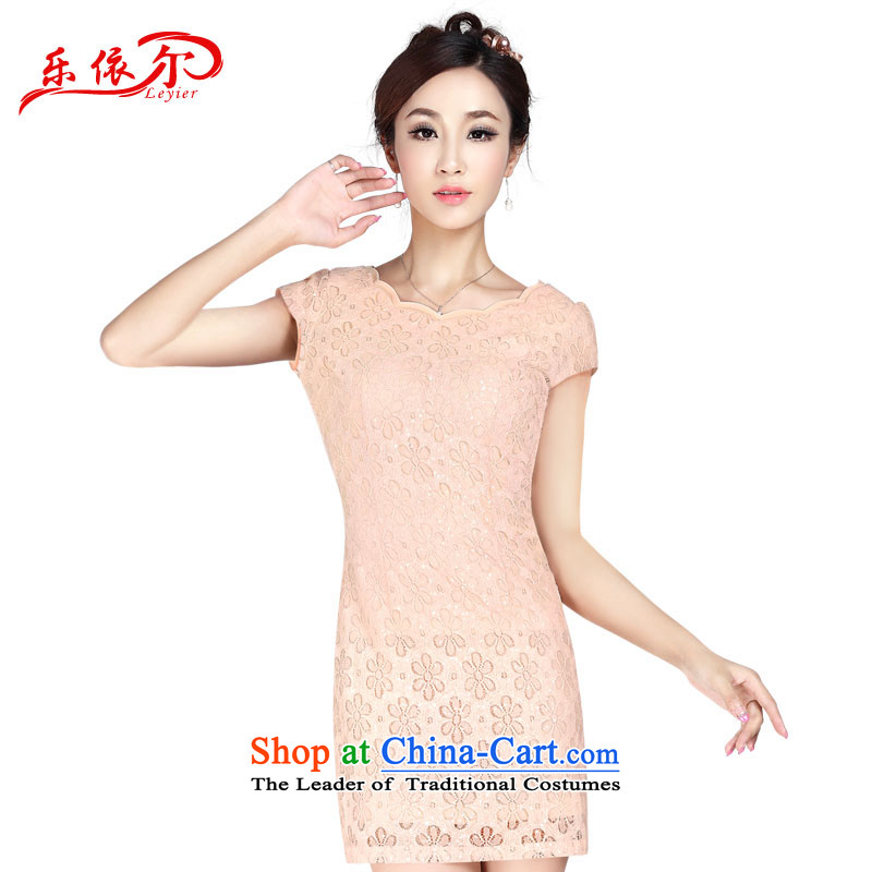 In accordance with the American's summer, Ms. cuff in the skirt of nostalgia for the improvement of fashionable upper cheongsam dress LYE1375 apricot�L