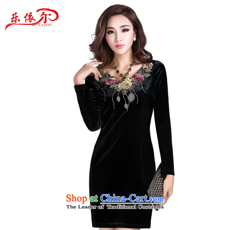 In accordance with the American's summer female qipao retro-embroidered cheongsam dress improved stylish Sau San scouring pads long-sleeved dresses LYE1391 black?L