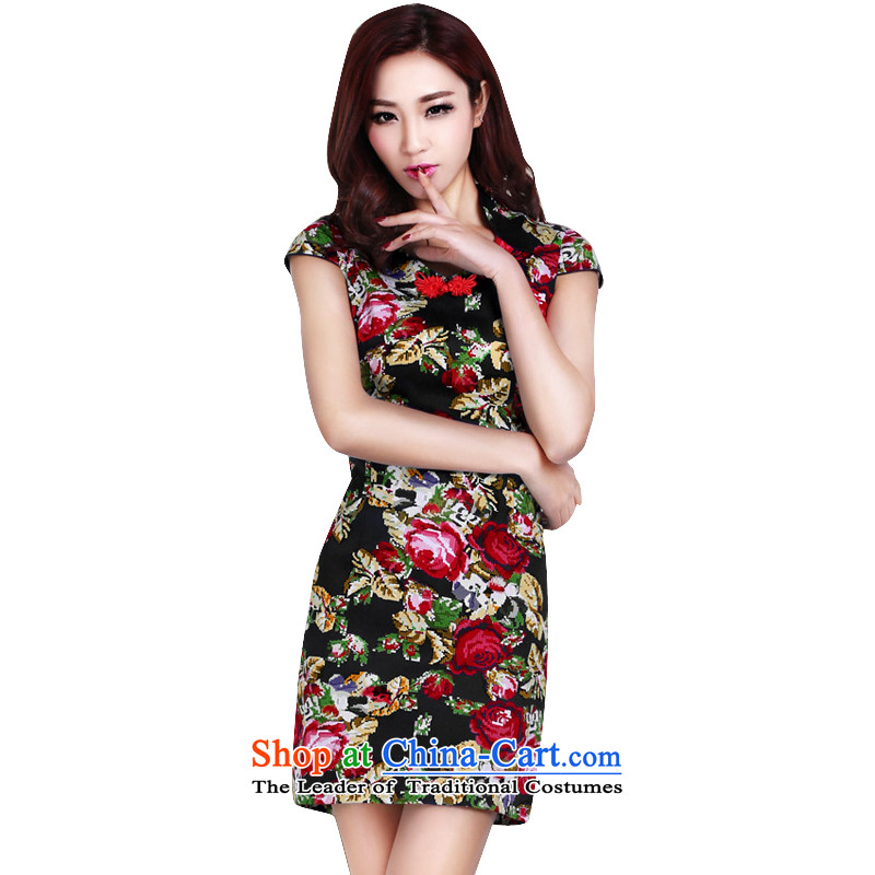 In accordance with the American's summer Ms. new short-sleeved short qipao female retro stamp elegant qipao Female dress daily improved LYE1392 black XXL