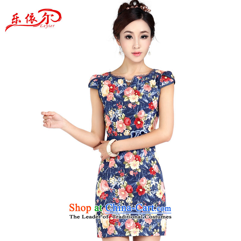 In accordance with the details of the fun, Ms. qipao retro Sau San stamp short-sleeved short skirt girls_ cowboy style qipao qipao LYE1403 quality blue _good quality fabrics_ XXL