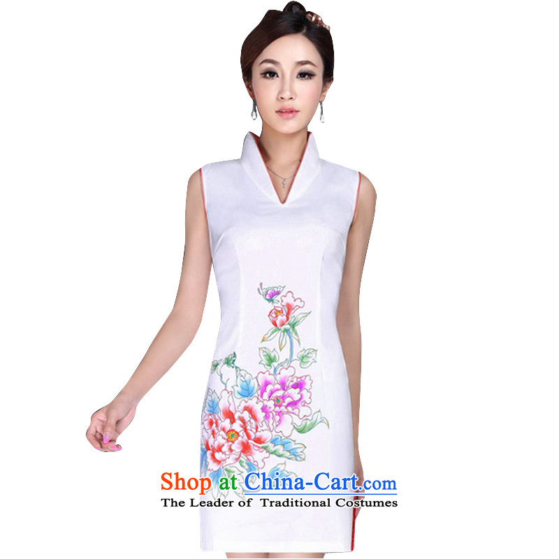 In accordance with the American's summer female qipao stylish sexy qipao retro improved short of qipao gown skirts V-Neck LYE170 white L