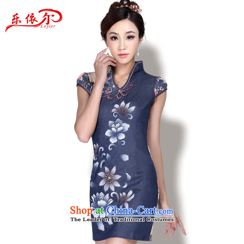 In accordance with the American Women's Summer's new improved cheongsam dress short of stylish cheongsam dress suit Chinese qipao LYE1711 antique dark blue M