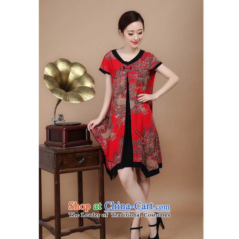 The 2014 summer of forest narcissus new Tang dynasty cotton stamp relaxd dress FGR-C1128 RED燲XL