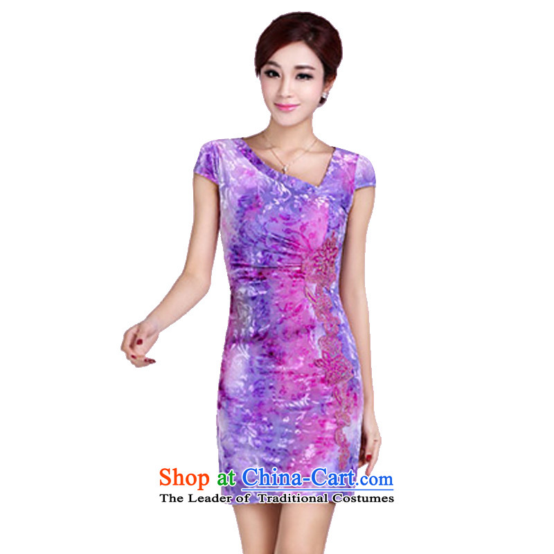 In accordance with the American's summer short-sleeved embroidery qipao Ms. short of female elegant ladies Sau San package and cheongsam dress LYE8809 RED S