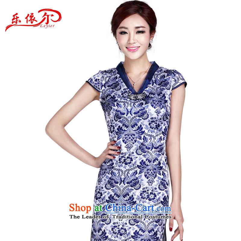 In accordance with the American Women's Summer's new daily retro qipao porcelain retro ethnic improved cheongsam dress LYE9014 BLUE?L