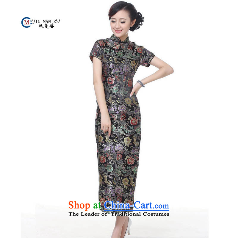 Ko Yo Gigi Lai 2015 Spring and Autumn Overgrown Tomb female upscale Silk Cheongsam retro long long high on the forklift truck cheongsam dress CHUANGQIPAO J0024 black聽160_M