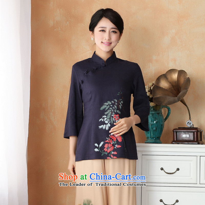 It 2014 stylish new hand-painted qipao cotton linen clothes large Chinese women improved Han-Tang dynasty, summer - 2 Color 2XL