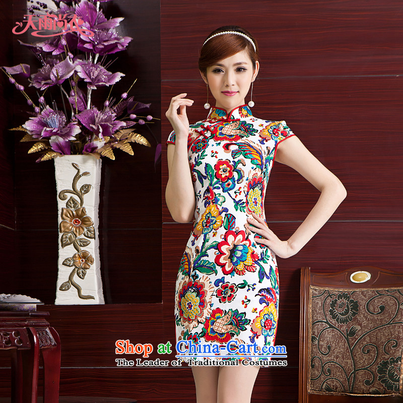 Rain Coat and stylish yet improved China wind qipao Sau San large short-sleeved everyday dress summer QP7008 qipao picture color?S