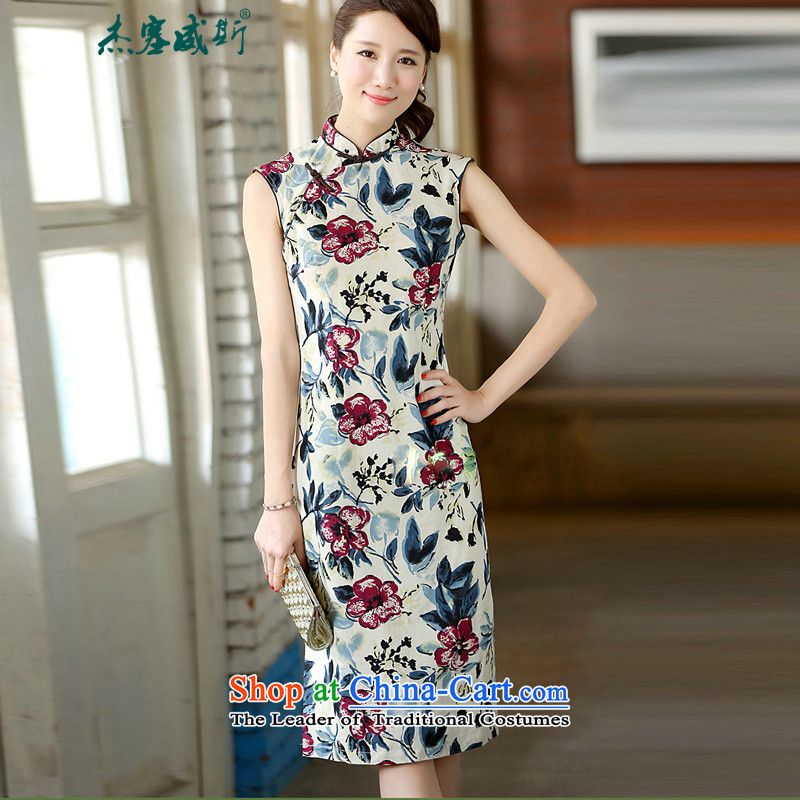 In the new kit, the Republic of Korea on the beach of nostalgia for the improvement of wind cotton linen dresses and stylish stamp cheongsam dress CQP341 sleeveless desert rose S