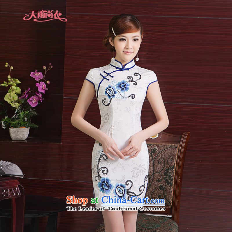 Rain Coat bride photo album dresses yet stylish improved summer short of elegant China wind daily embroidery cheongsam QP7011 white Suzhou shipment?L
