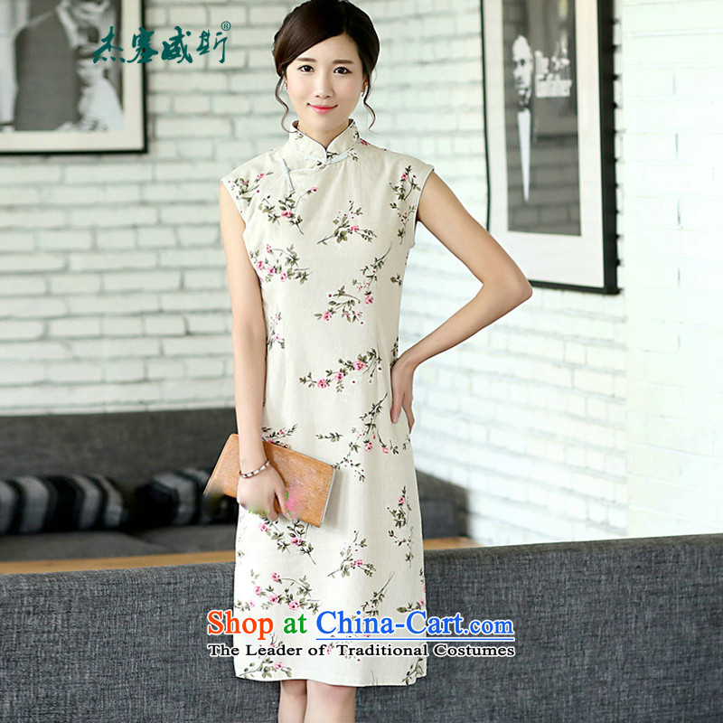 In the new Jie, Chinese Literature van improved linen summer daily saika cotton linen dresses sleeveless cheongsam dress CQP362 sleeveless summer energy S
