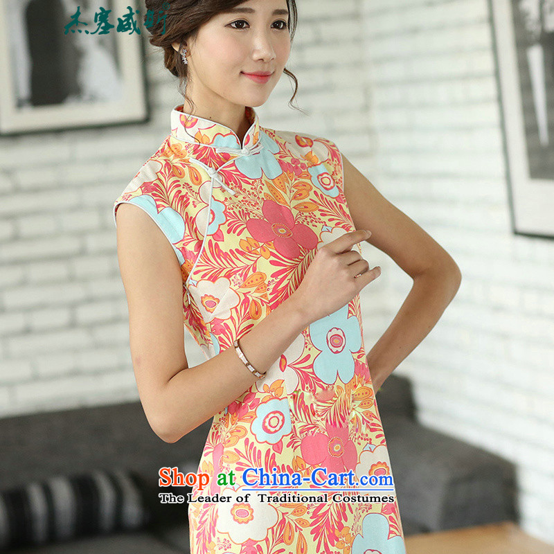 In the new Jie) improved daily Chinese literary van summer linen stamp cotton linen dresses sleeveless girl cheongsam dress?CQP557?sleeveless warm spring?M