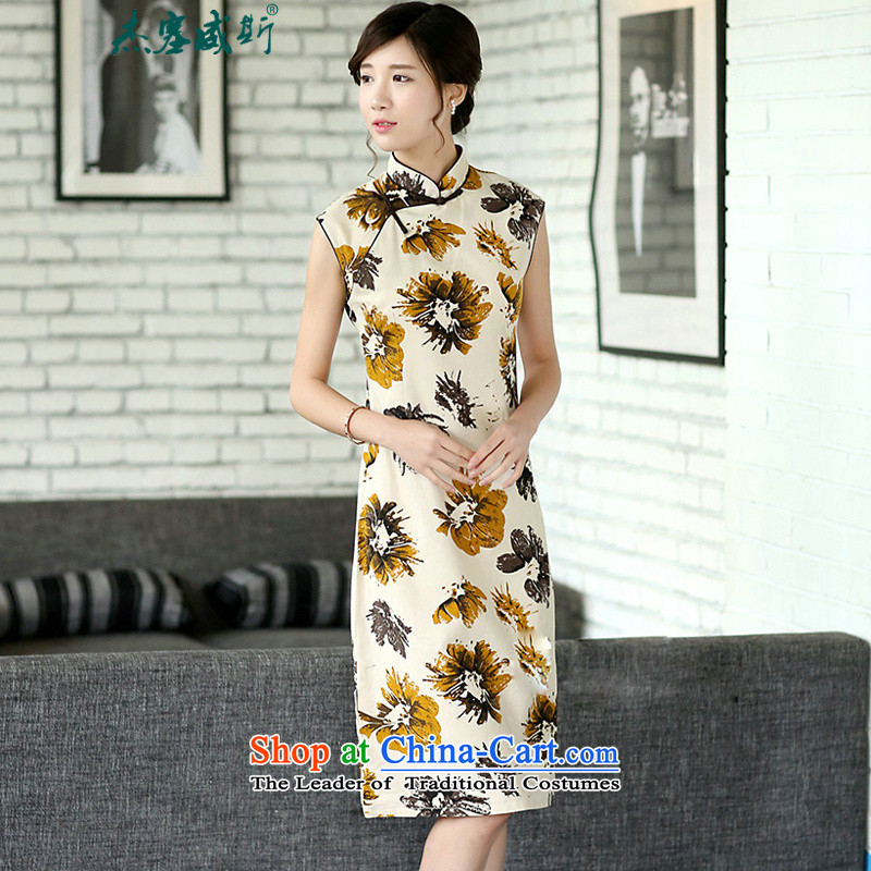 In the new kit, China wind female elegant cotton linen stamp Sleeveless Men's Mock-Neck manually. Long improved cheongsam dress?CQP725?Sleeveless Hyun ink?L