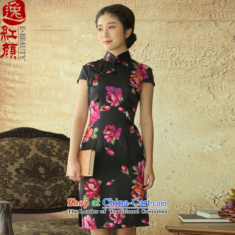 A Pinwheel Without Wind flowers from Yat Silk Cheongsam new retro cheongsam dress improvements for summer daily stylish black聽S