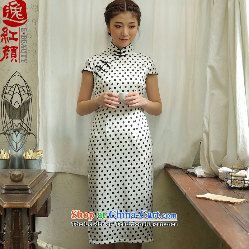 A Pinwheel Without Wind, Yat vanilla silk retro long cheongsam dress qipao summer improved daily stylish white燬