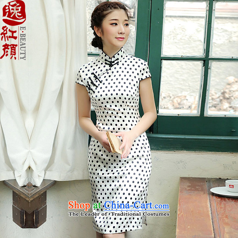 A Pinwheel Without Wind, Yat vanilla Silk Cheongsam 2014New retro summer skirt improved day-to-style qipao white聽S