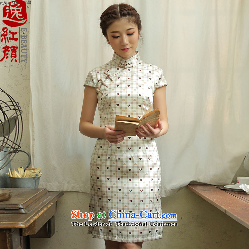 A Pinwheel Without Wind in Yat Silk Cheongsam new retro 2015 Summer skirt improved day-to-style qipao brown聽XL