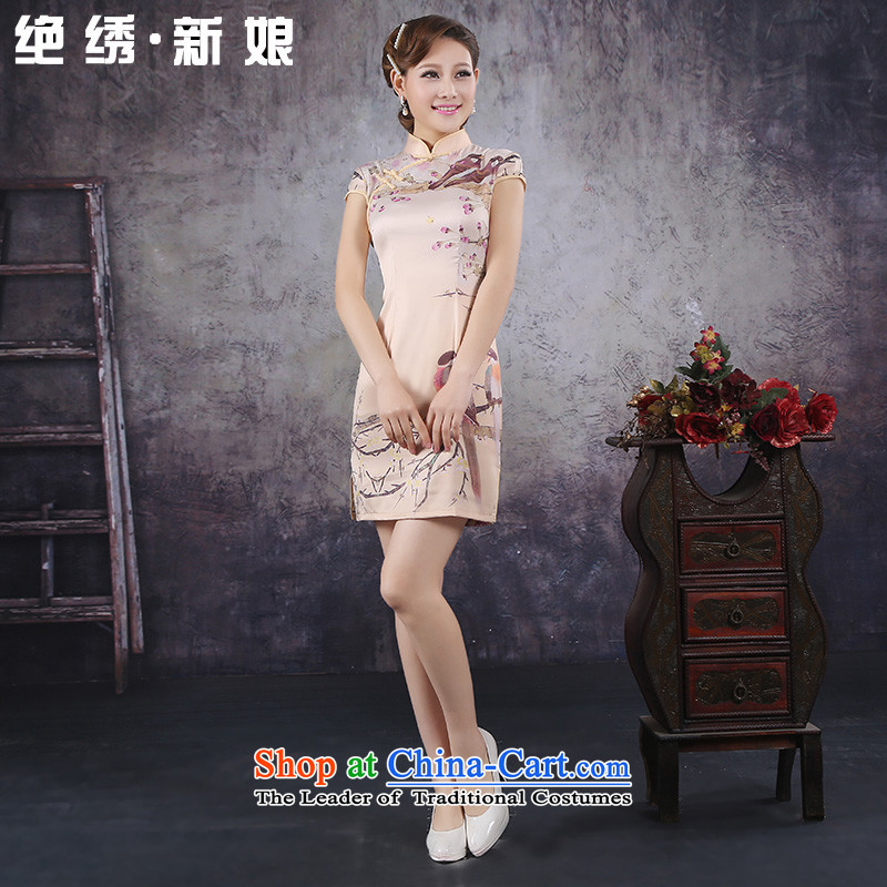 Embroidered brides is� 2015 Summer improved stylish short-sleeved cheongsam dress high-end ice silk Silk Cheongsam燲XL燬uzhou Shipment