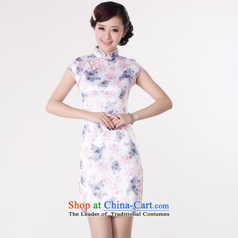 Take a new stylish summer female qipao Tang Dynasty Chinese collar is pressed to improve cotton short-sleeved hand-painted short white?L Cheongsam